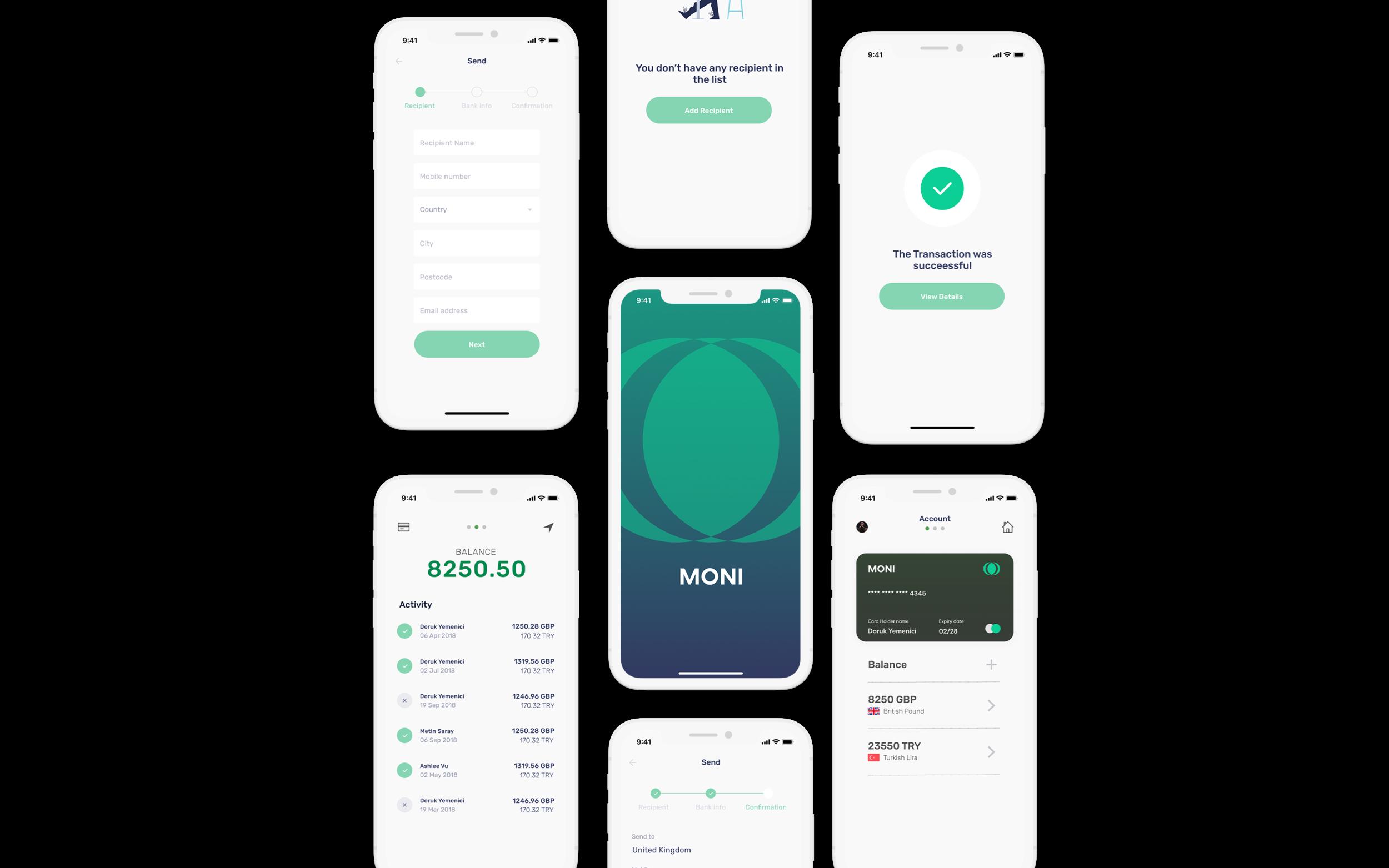MONI - Money TRANSFER - Money Transfer application - Product Design - Work in Progress