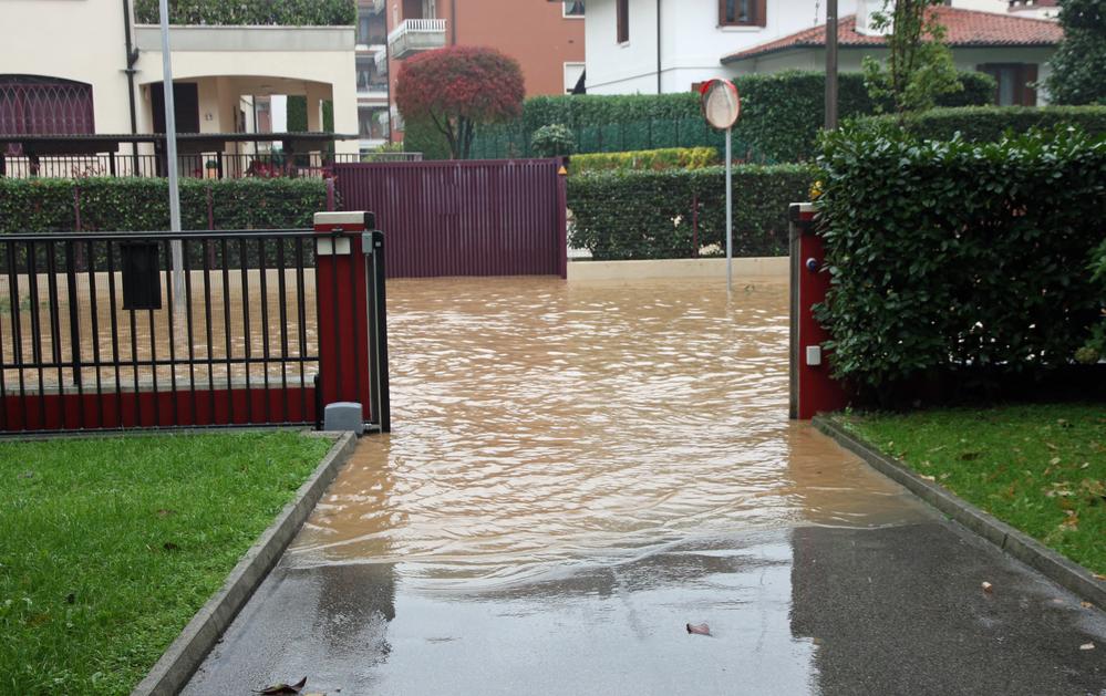 flooded residential yard