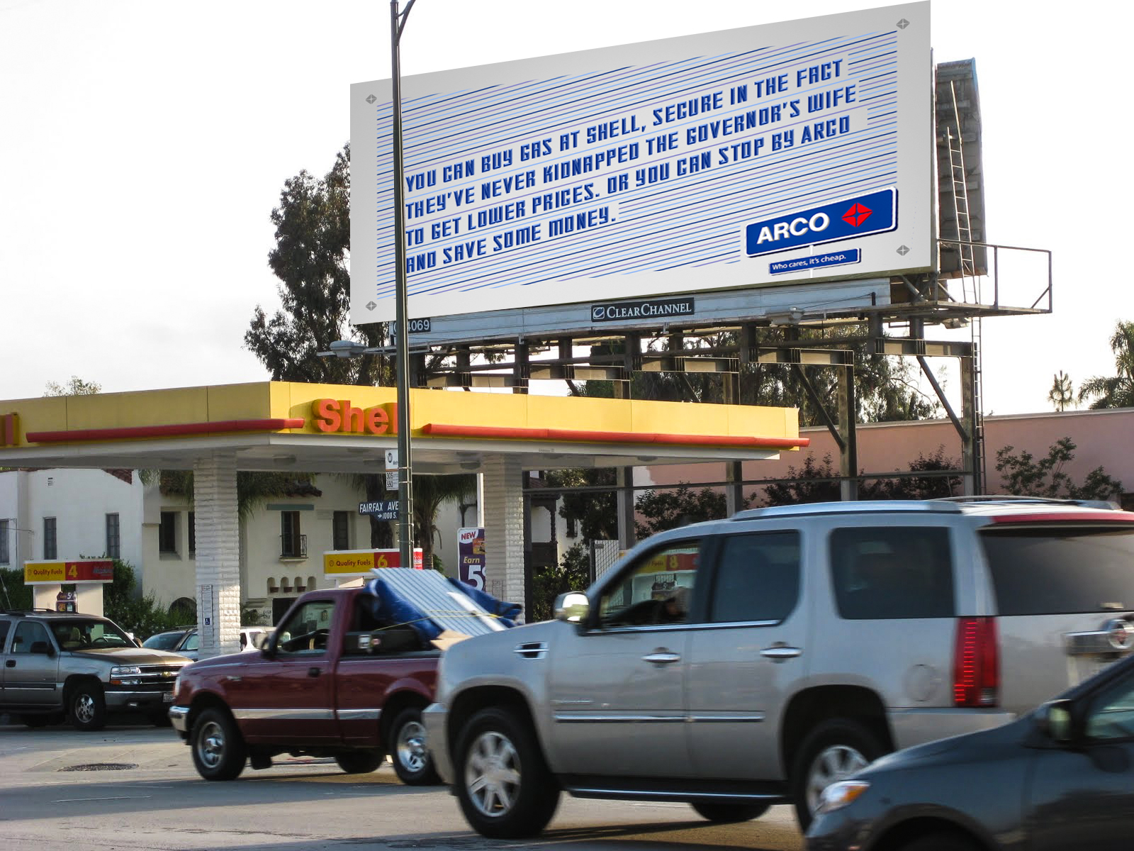 Longer billboards would be placed near competitors' stations to be read while customers were pumping their gas.