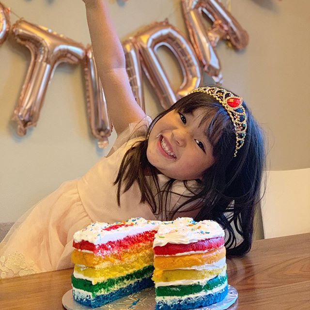 🌈 Celebrated four years with tiaras and rainbows for my sweet Sienna 🌈