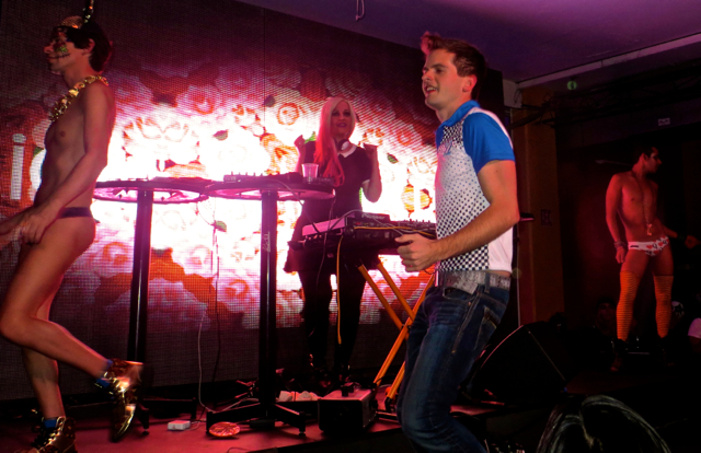 """On stage with DJ & Drag group """"Que Trabaje Rita"""" in Mexico City"""