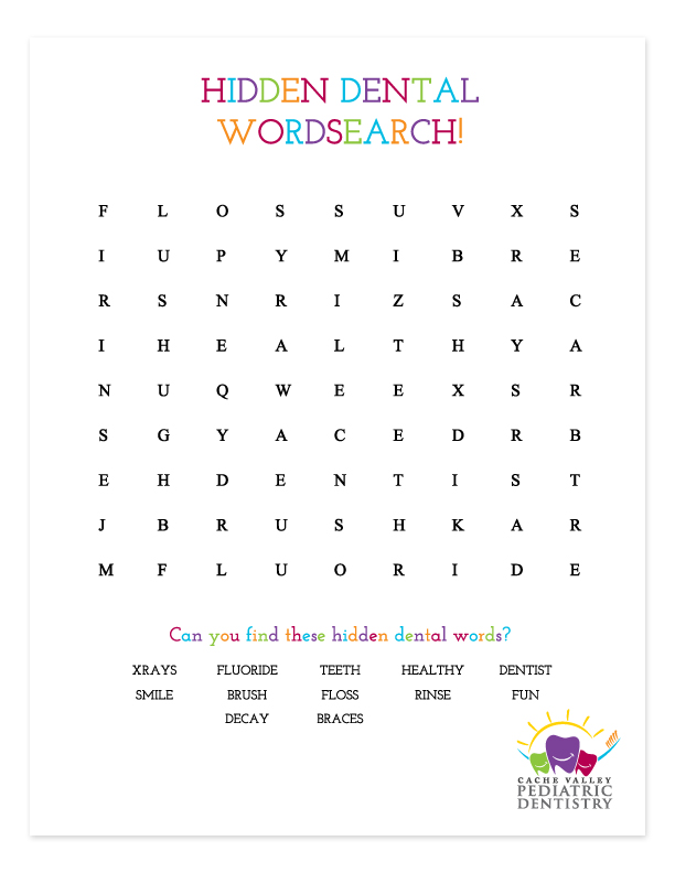 """Download & print """"HIDDEN DENTAL WORDSEARCH"""" - Can you find all the hidden dental words?    (download black and white version here)"""
