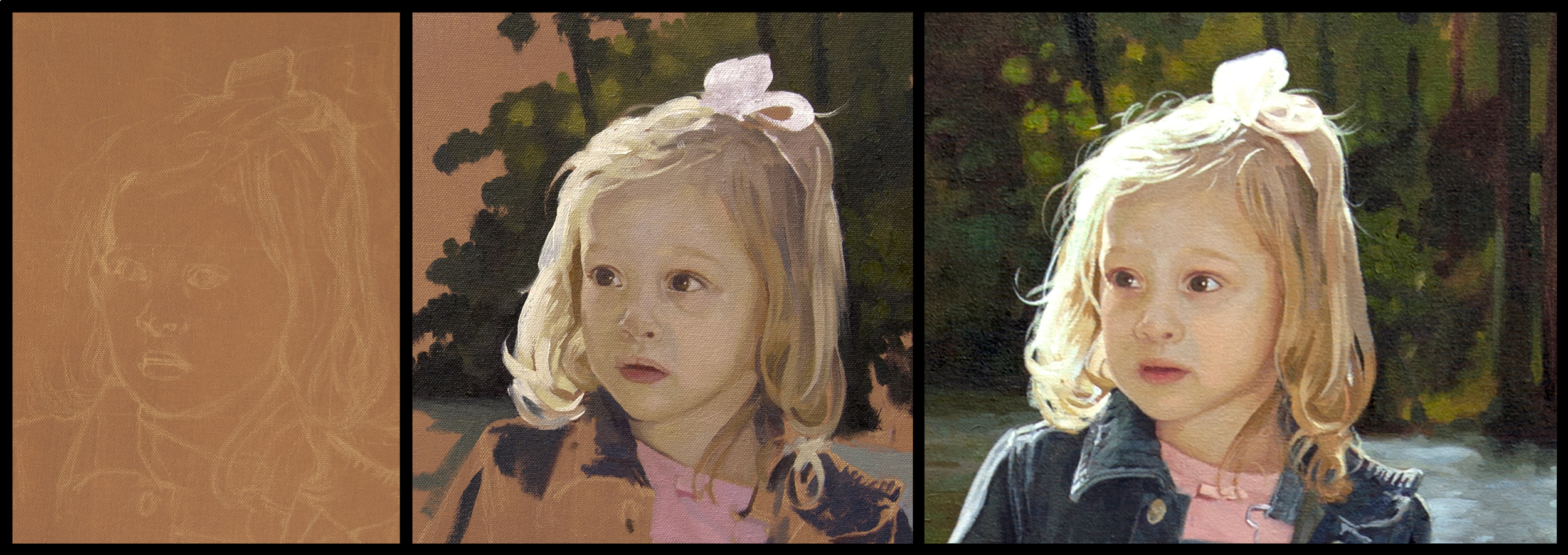 Three stages of a Portrait