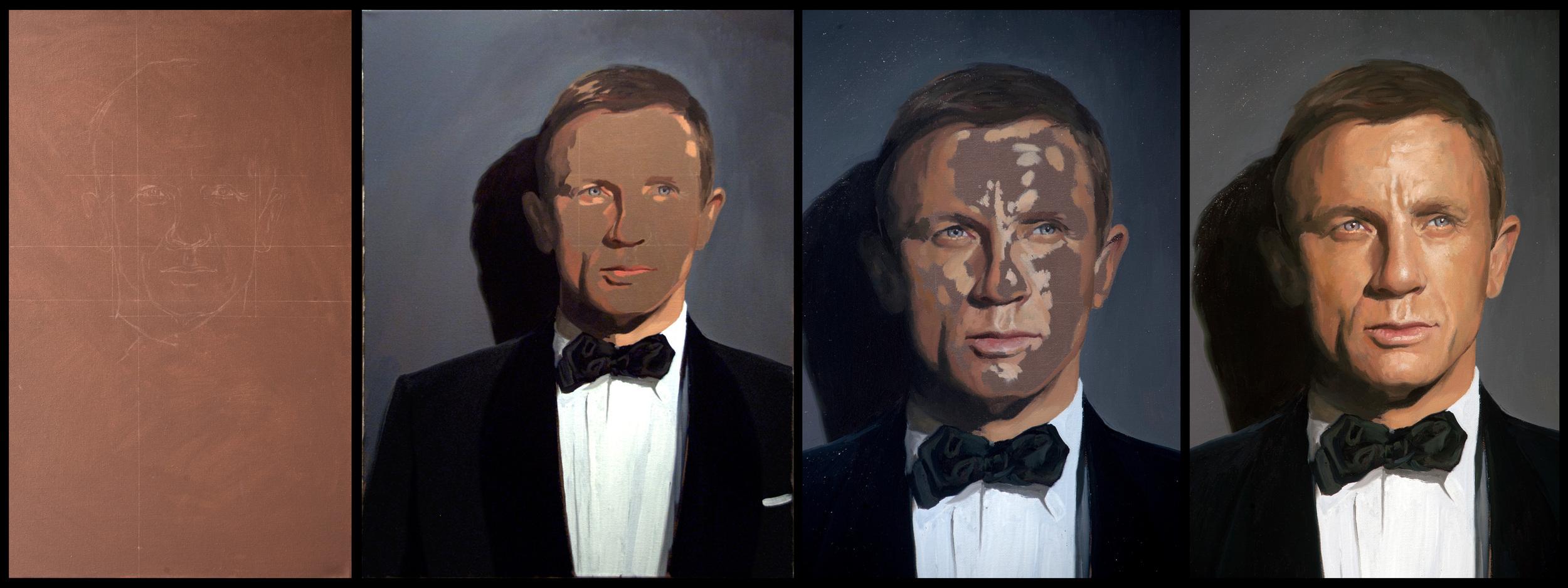4 stages of Daniel Craig Portrait