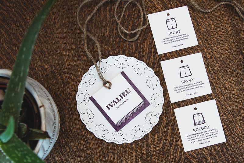 Ivalieu hangtags in letterpress
