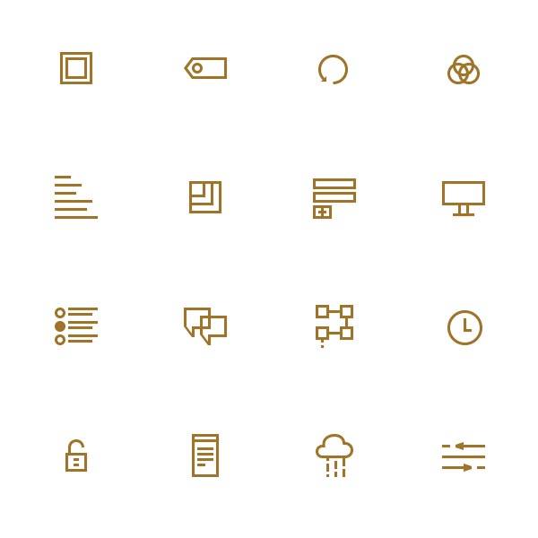 Illustrated set of icons encoded as a font for flexible use.  (Work done as Art Director at Pathwright)