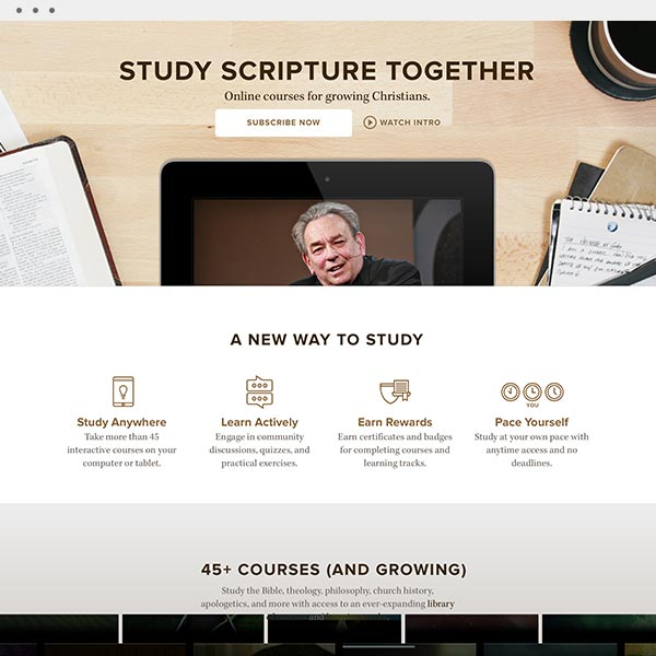 Design and art direction for  Ligonier Connect , an online school.  (Work done as Art Director at Pathwright)