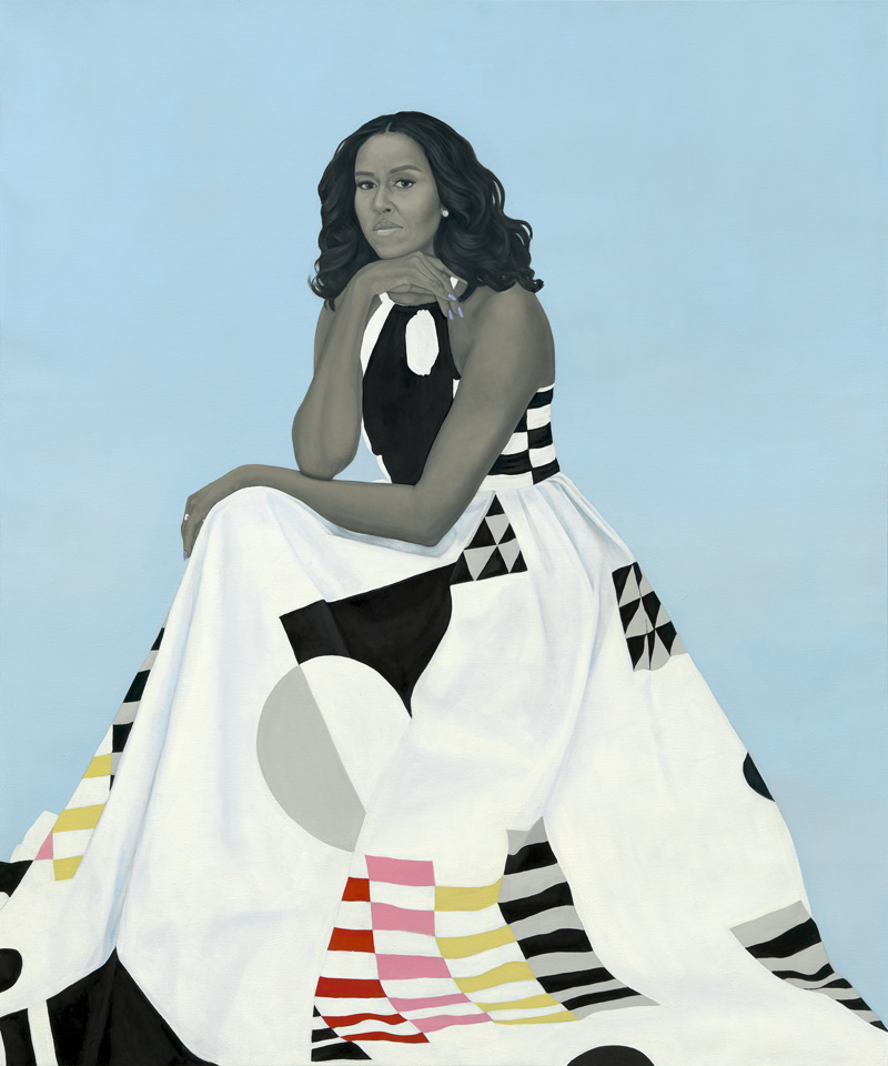 Amy Sherald,  Michelle LaVaughn Robinson Obama , 2018. Oil on linen, 72 1/8 × 60 1/8 × 2 3/4. National Portrait Gallery, Smithsonian Institution.