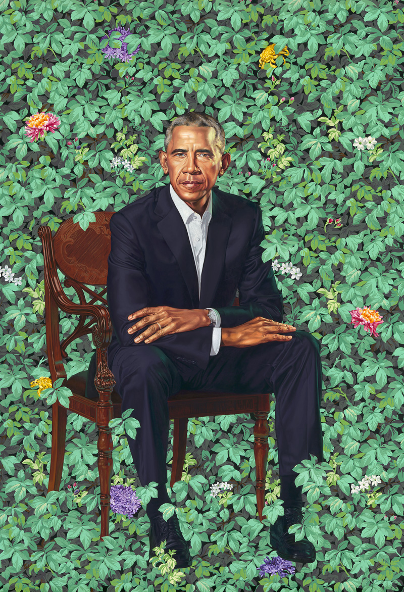 Kehinde Wiley,  Barack Obama , 2018. Oil on canvas, 84 1/8 × 57 7/8 inches. National Portrait Gallery, Smithsonian Institution. © 2018 Kehinde Wiley.