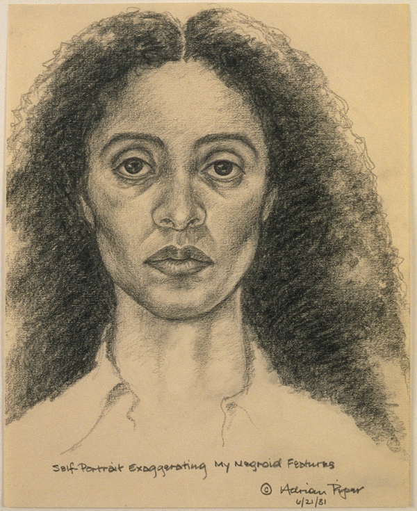 Adrian Piper,  Self-Portrait Exaggerating My Negroid Features , 1981. Pencil on paper, 10 × 8 inches. © Adrian Piper Research Archive Foundation Berlin.