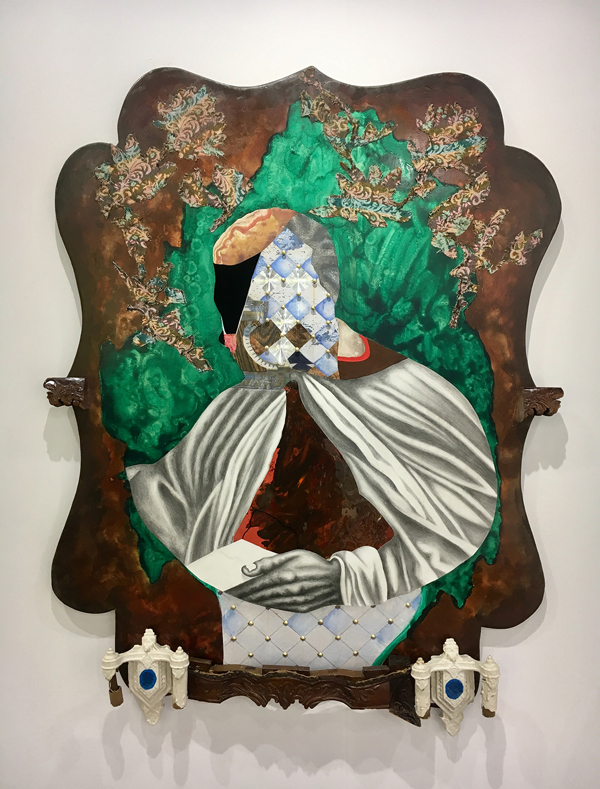 David Shrobe,  Anointed , 2018. Oil, Graphite, Wood, Metal, Fabric, Paper and Mixed Media, 60 × 47.5 × 4 inches. Courtesy Faction Projects