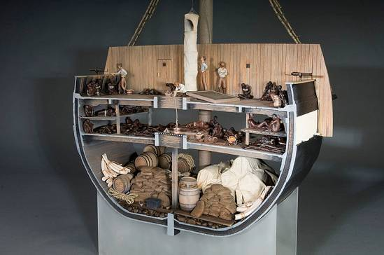 Slave ship model fabricated by National Museum of American History Office of Exhibits Central model maker, Chris Hollshwander, with figures by Natalie Gallelli.