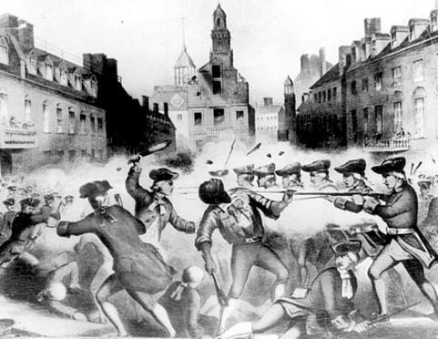 Crispus Attucks being shot during the Boston Massacre
