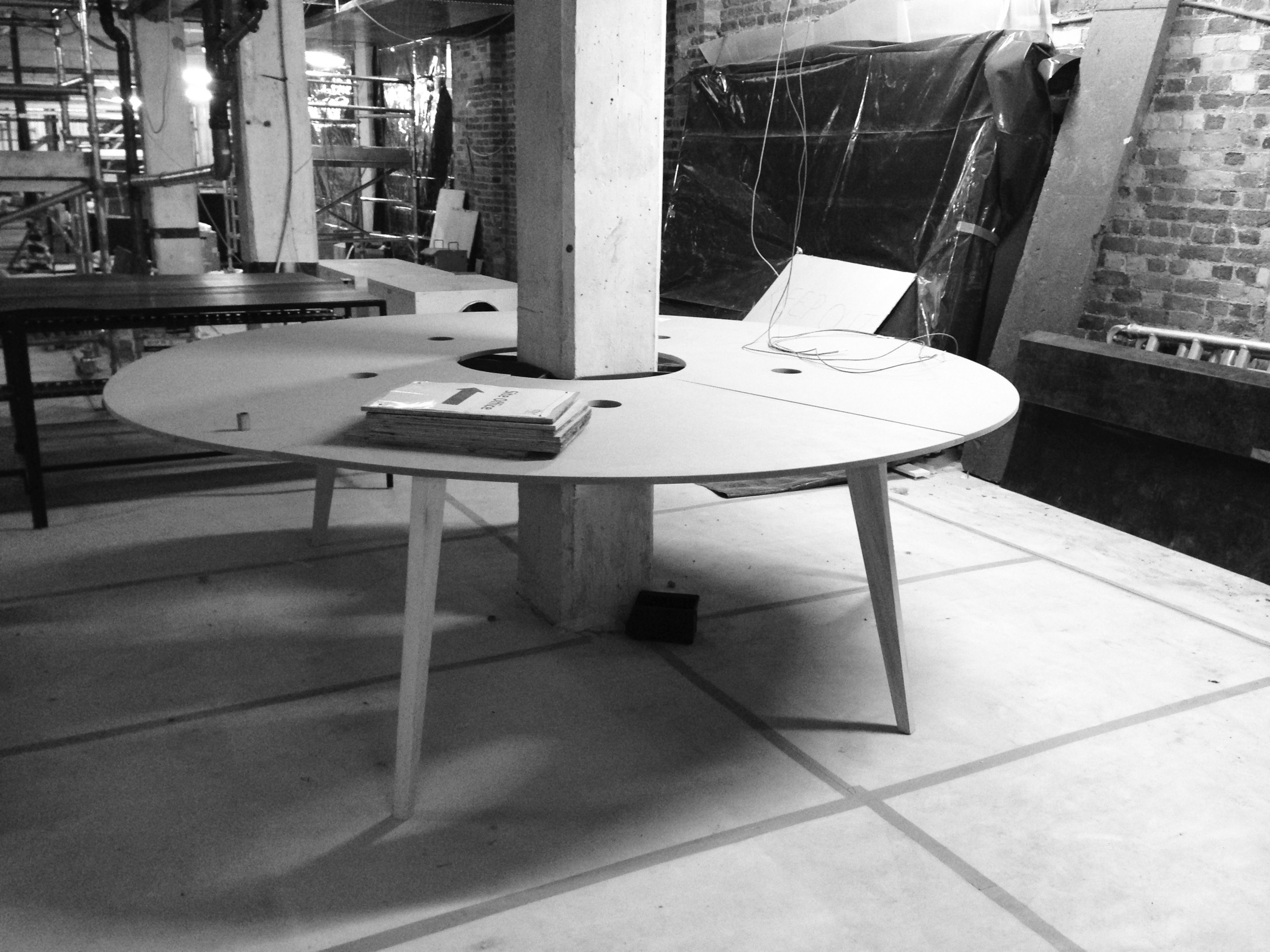 Early prototype for circular desk