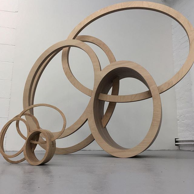 We've just finished a series of beautiful #sculptures for the brilliant @nigelhallartist here's one of them with its maquette #littleandlarge #nigelhall #plywood