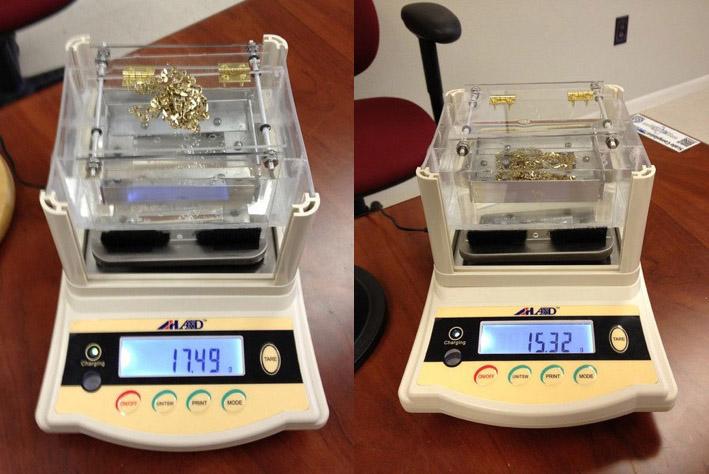 Density Testing in air and below water.