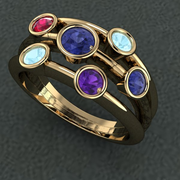 Mother's ring in 14k gold