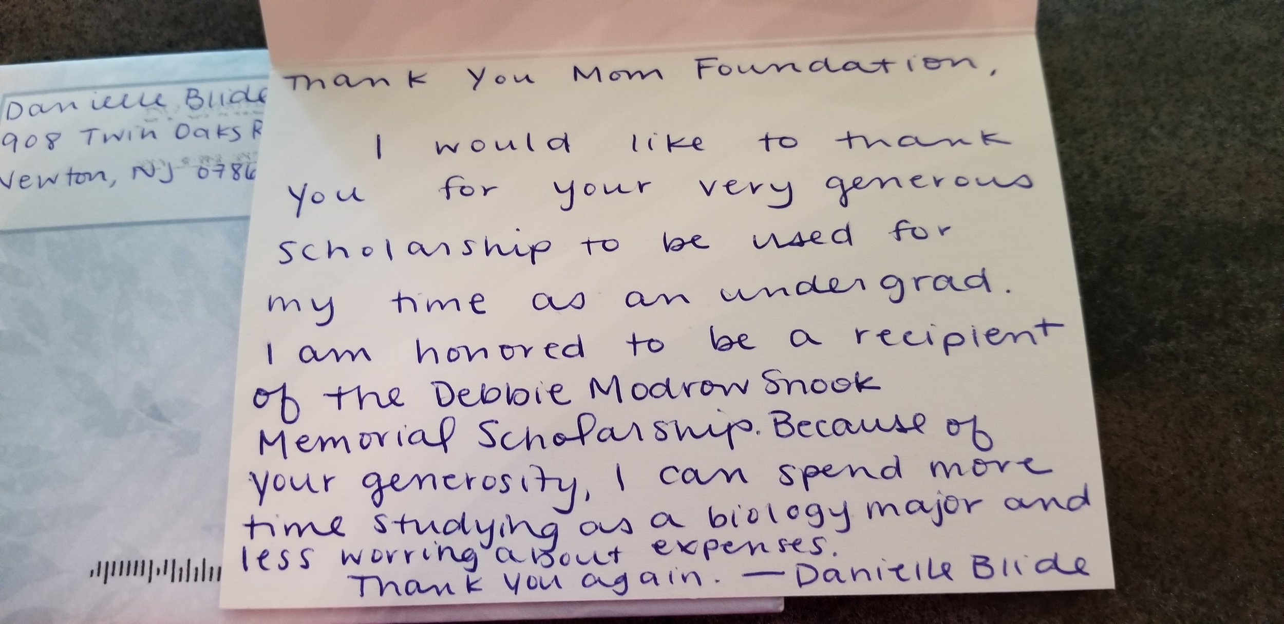 2019 Scholarship Winner Thank You Note