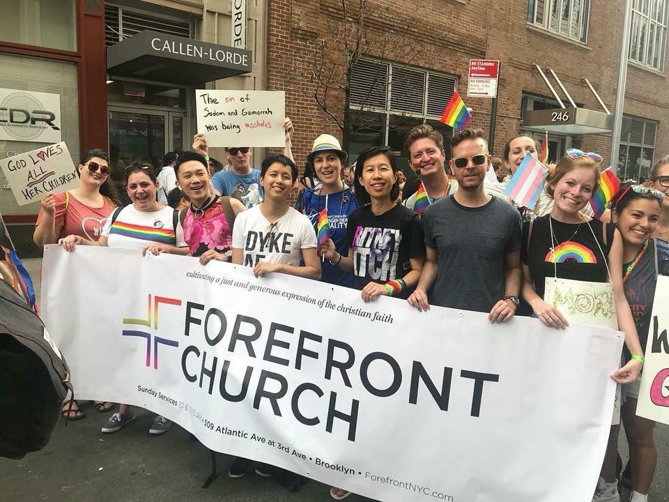 Forefront Brooklyn & Queer Communion marching in NYC Pride 2018
