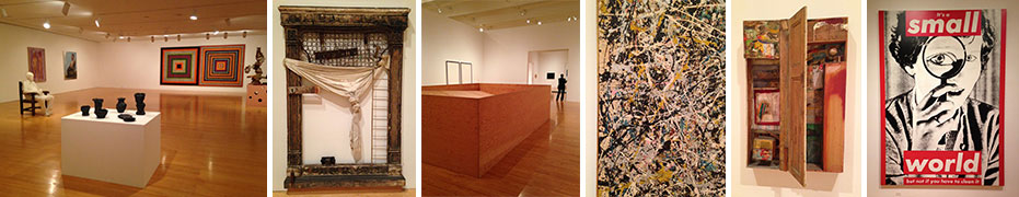 From left: A gallery at MOCA with work by Segal, Alfred Jensen and others; Robert Rauschenberg; Donal Judd; Jackson Pollock; ROBERT RAUSCHENBERG; Barbara Kruger