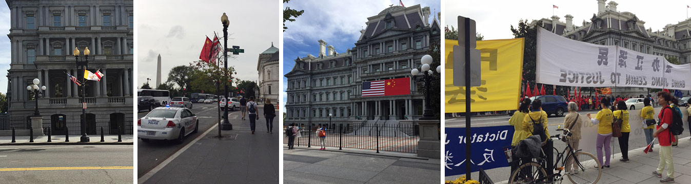 The yellow flags to welcome the Pope were replaced with red flags of china today. There was a face-off of dissidents and chinese supporters lining the street,