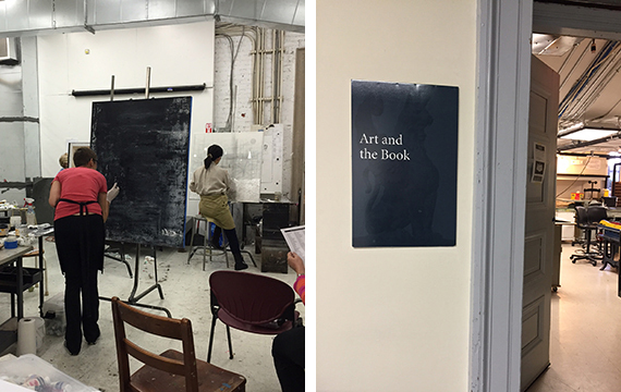 Some of my talented classmates at work in our painting studio; the studio where my Book arts class is taught.
