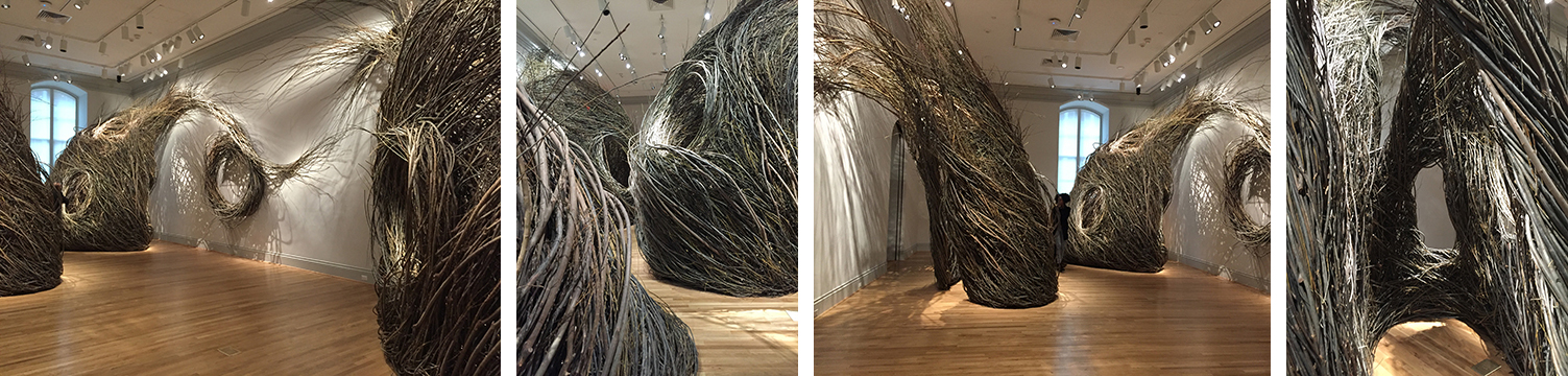 "Patrick Dougherty's ""Shindig"" is PHENOMENAL, and especially delightful because you can move into the forms he created with willow saplings."
