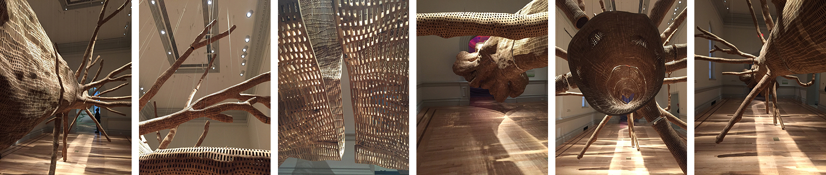 """""""Middle Fork"""", by John Grade, was made by first creating a plaster cast of a tree, found  IN THE CASCADE MOUNTAINS, that is the same age as the Renwick building. Then, a half-million segments of reclaimed cedar were carved and connected to make the new """"tree"""" from the cast. Amazing!"""