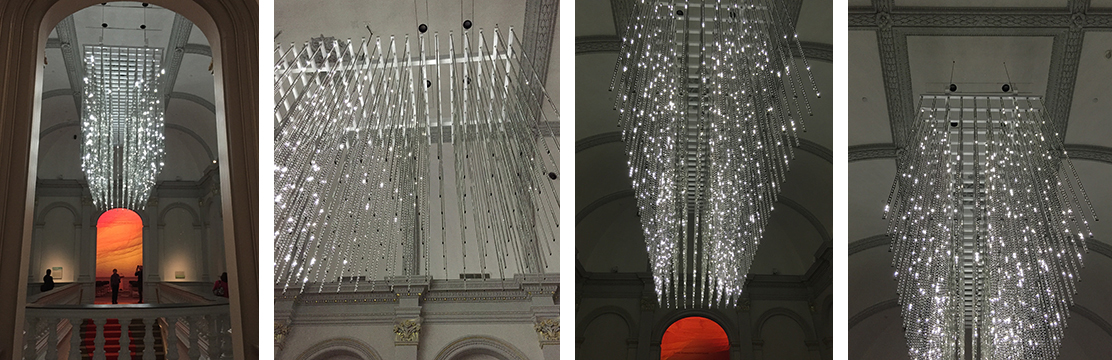 "Leo Villareal's ""Volume"" sculpture is suspended above the great staircase and is ever-changing. It is coded so that the lighting sequences never repeat exactly as before."