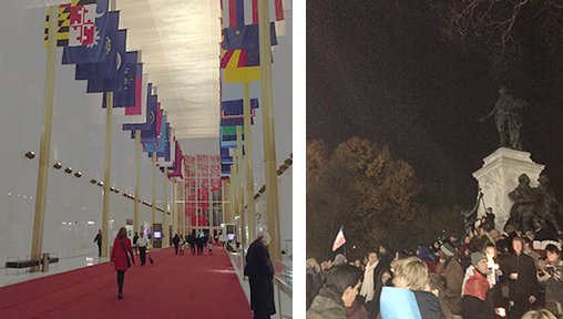 The interior of the Kennedy Center; at Lafayette Park the night after the Paris attacks.