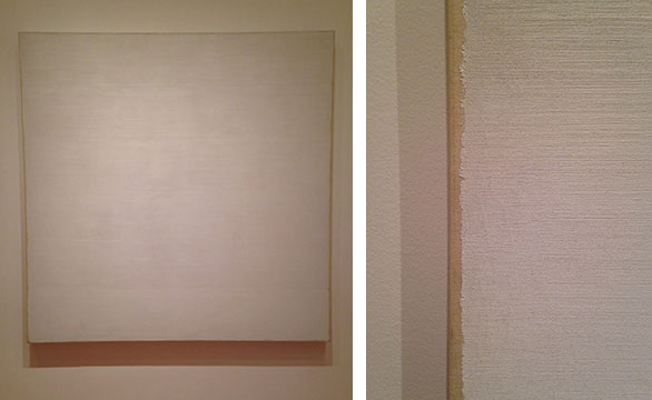 "THIS PAINTING, BY ROBERT RYNAM AT MOMA IN NEW YORK, AT FIRST APPEARS TO BE A SOLID WHITE CANVAS. WHEN THE OIL ON COTTON SURFACE IS OBSERVED CLOSELY, YOU CAN SEE THE ATTENTION TO TEXTURE AND EDGE THAT THE ARTIST EXPLORED. HE PAINTED ""TWIN"" WITH THICK PAINT AND STOPPED BEFORE REACHING THE EDGE OF THE CANVAS ON EACH SIDE. THE RAW CANVAS AND EDGE QUALITY TO THE PAINT GIVES THE IMPRESSION OF IT BEING A PIECE OF ROUGH-EDGED CLOTH GLUED ONTO THE SURFACE. RYMAN WAS FASCINATED BY THE TACTILE SURFACE OF PAINT AND RIGOROUSLY EXPLORE MANY EFFECTS BY USING ONLY WHITE PIGMENT ON SQUARE CANVASES."