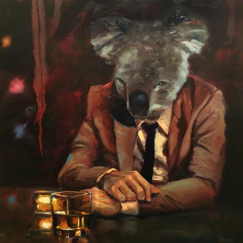 "Richard Ahnert, ""Happy Hour"", Oil on Panel, 24"" x 24"""