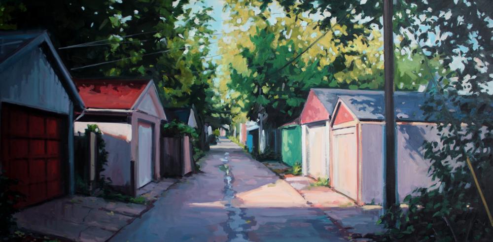 "Brian Harvey, ""Behind Leslie Street, October"", Oil on Panel, 30"" x 60"""