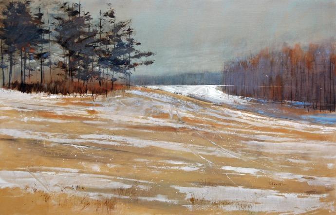 "David Lidbetter, ""December Ends"", Oil on Canvas, 20"" x 28"""