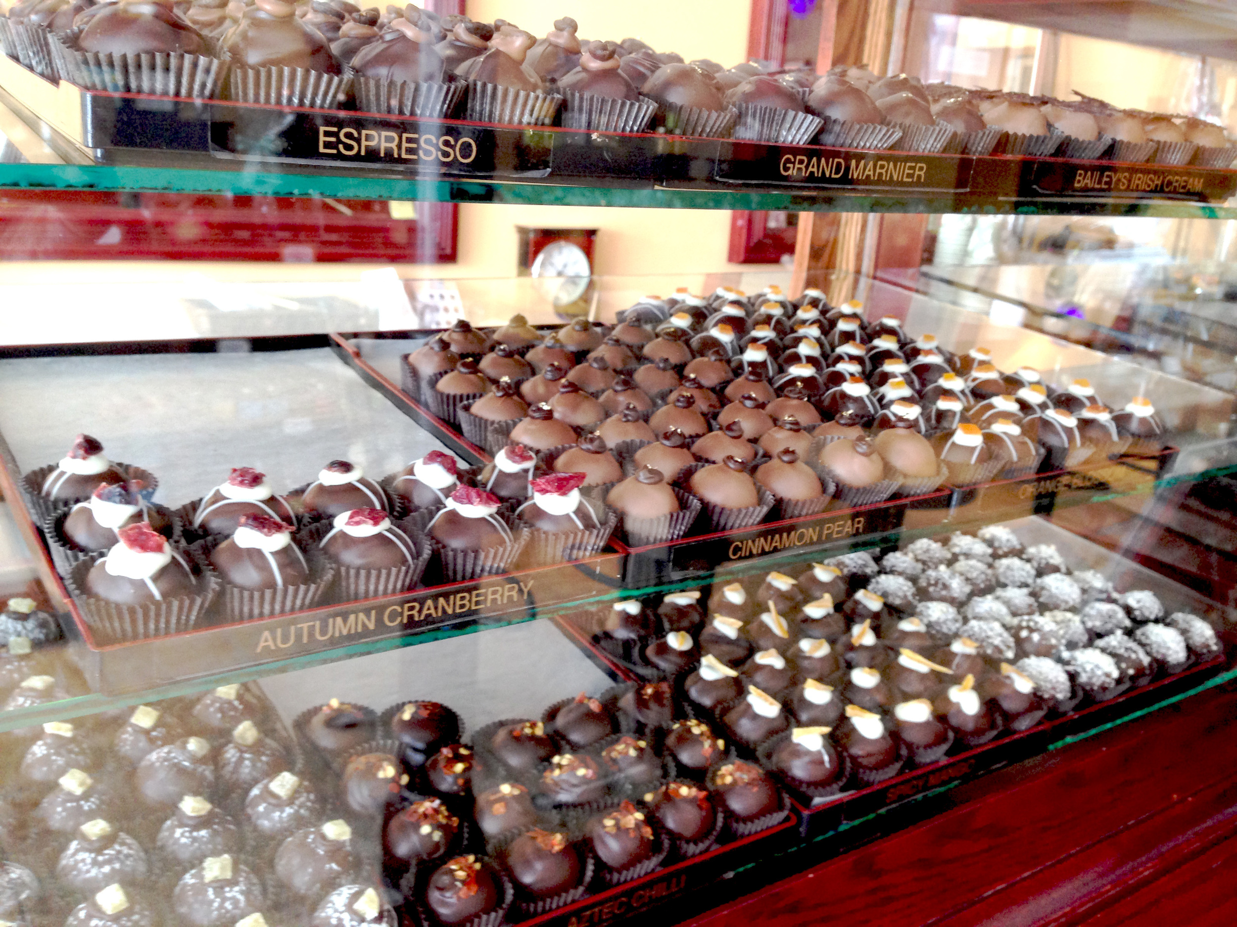 Truffles are made on-site with premium chocolate