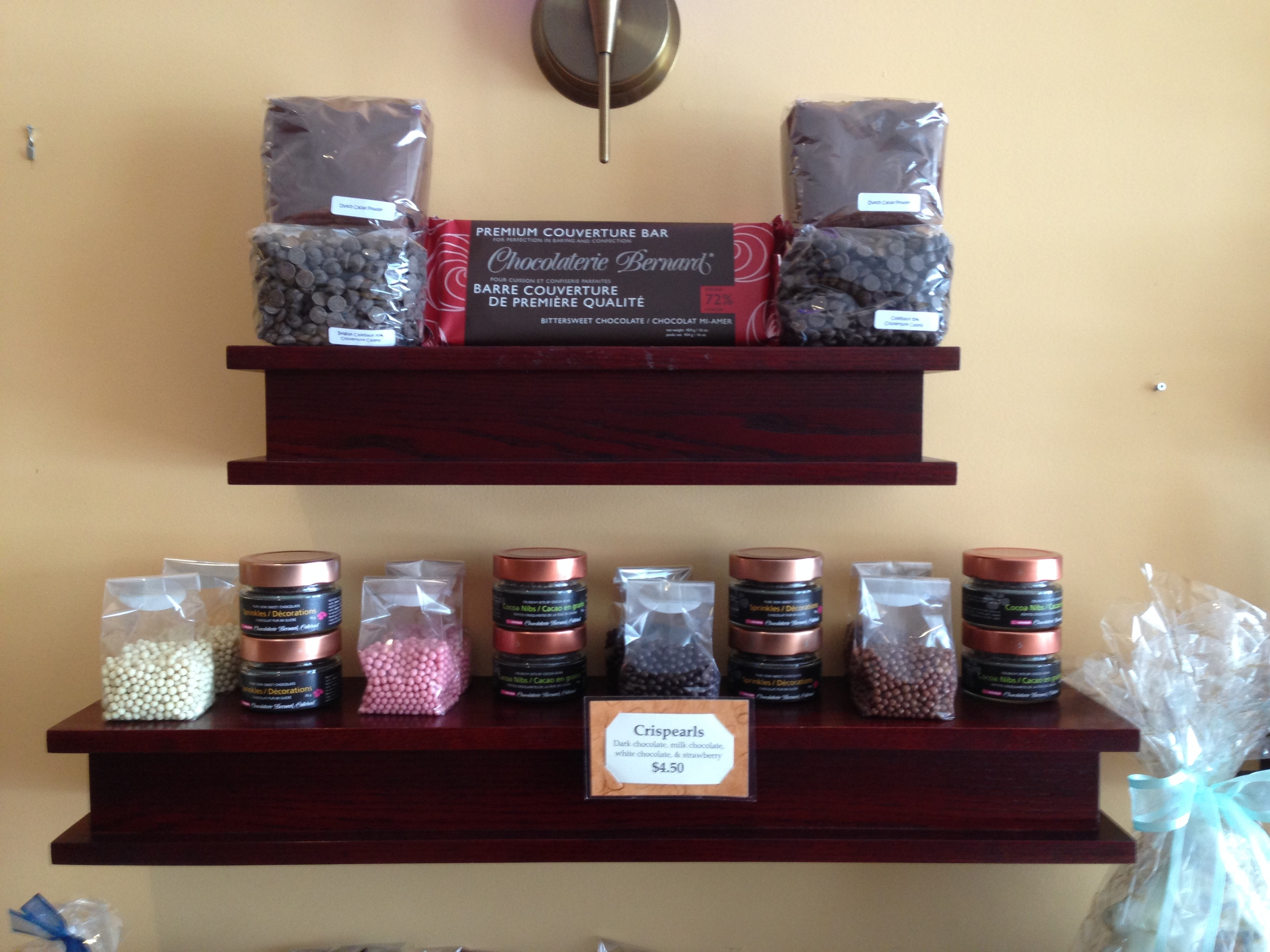 Take some high quality baking chocolate and cocoa home to make your own sweet treats!
