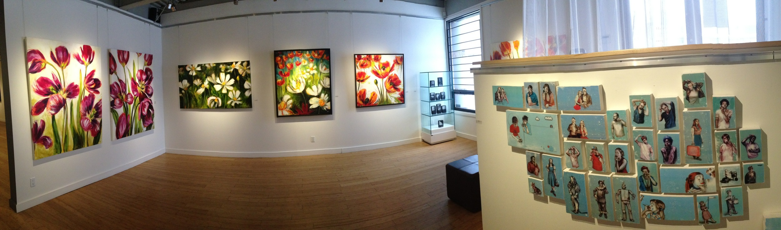 Floral paintings by  Nathalie Mantha , glass photo box series by  Nick Chase , and collection of works by  Kelly Grace
