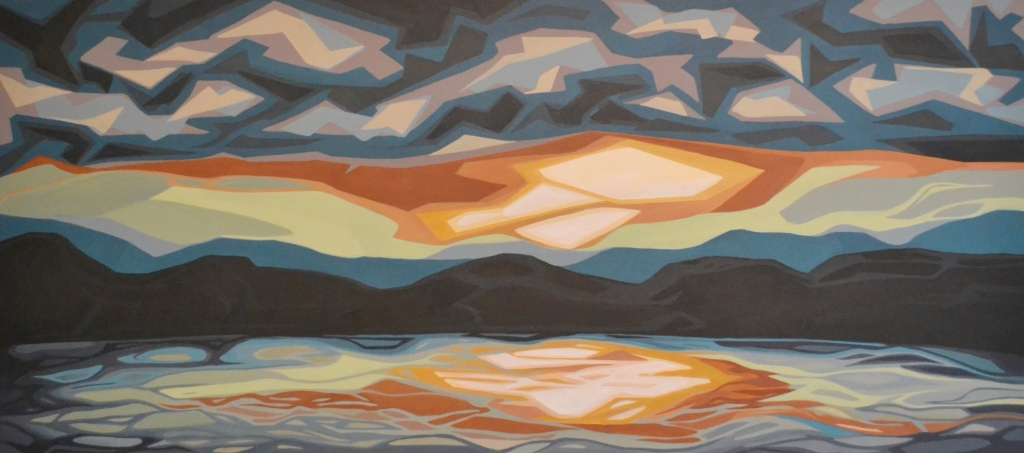 "Erica Hawkes, ""Evening Shades"", acrylic on canvas, 24"" x 54"""