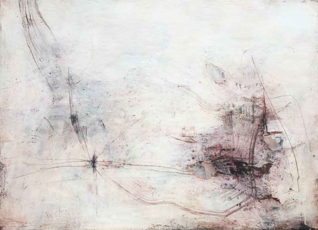 "Nava Waxman, ""Angel Care"", encaustic on canvas, 42"" x 58"""