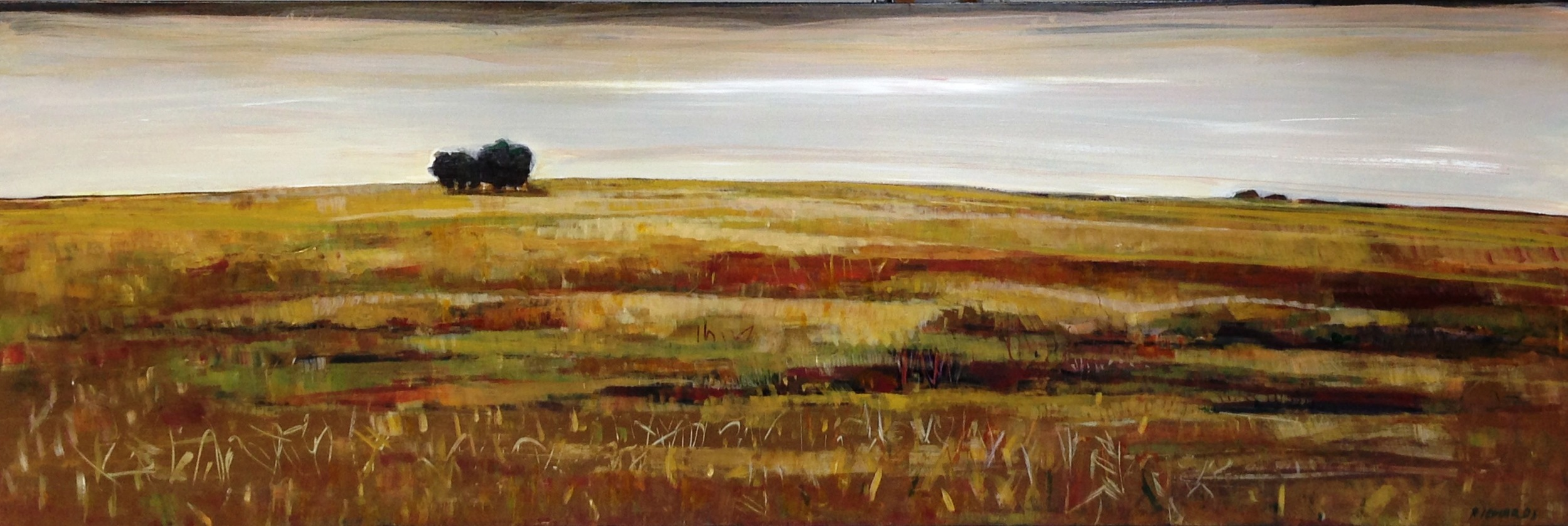 "Lori Richards,  Warm Fields (After the Harvest) , Acrylic on Panel, 16"" x 48"""