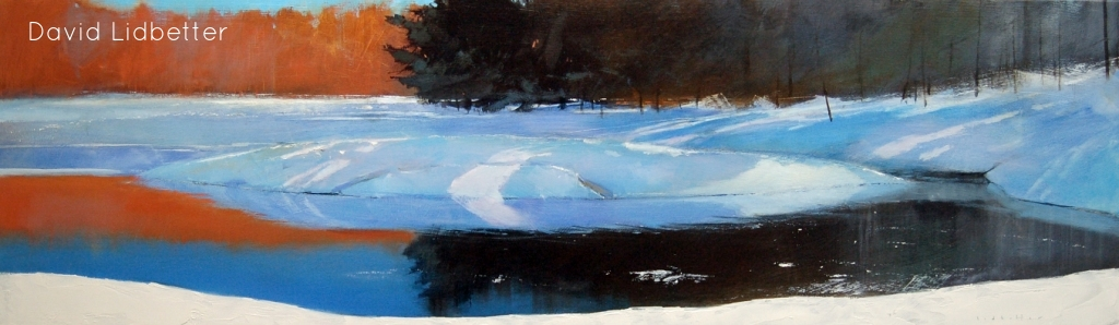 "David Lidbetter, Morning Light - Oxtongue River, Oil on Panel, 14"" x 48"""