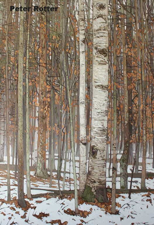 "Peter Rotter, Winter Rain, Oil on Canvas, 72"" x 48"""