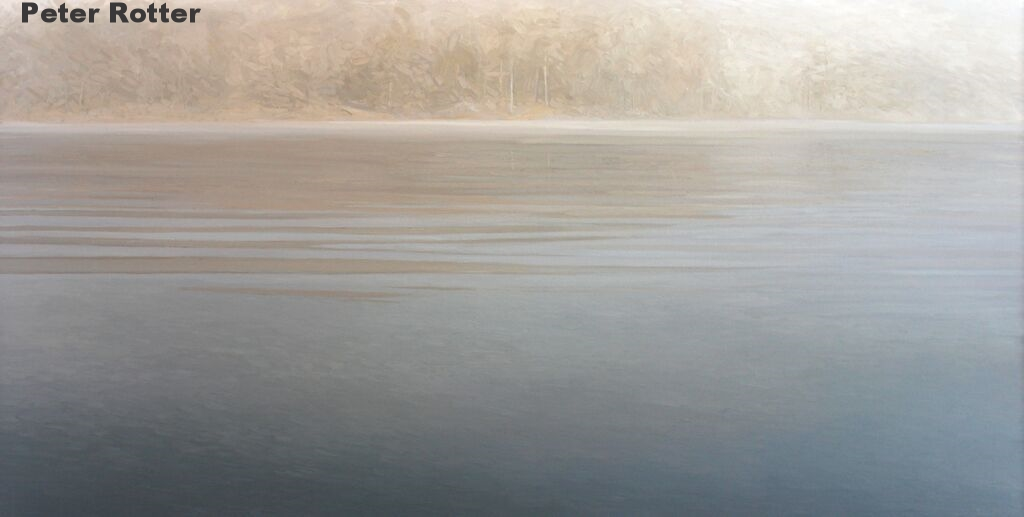 "Peter Rotter, Morning Mist, Oil on Canvas, 40"" x 80"""