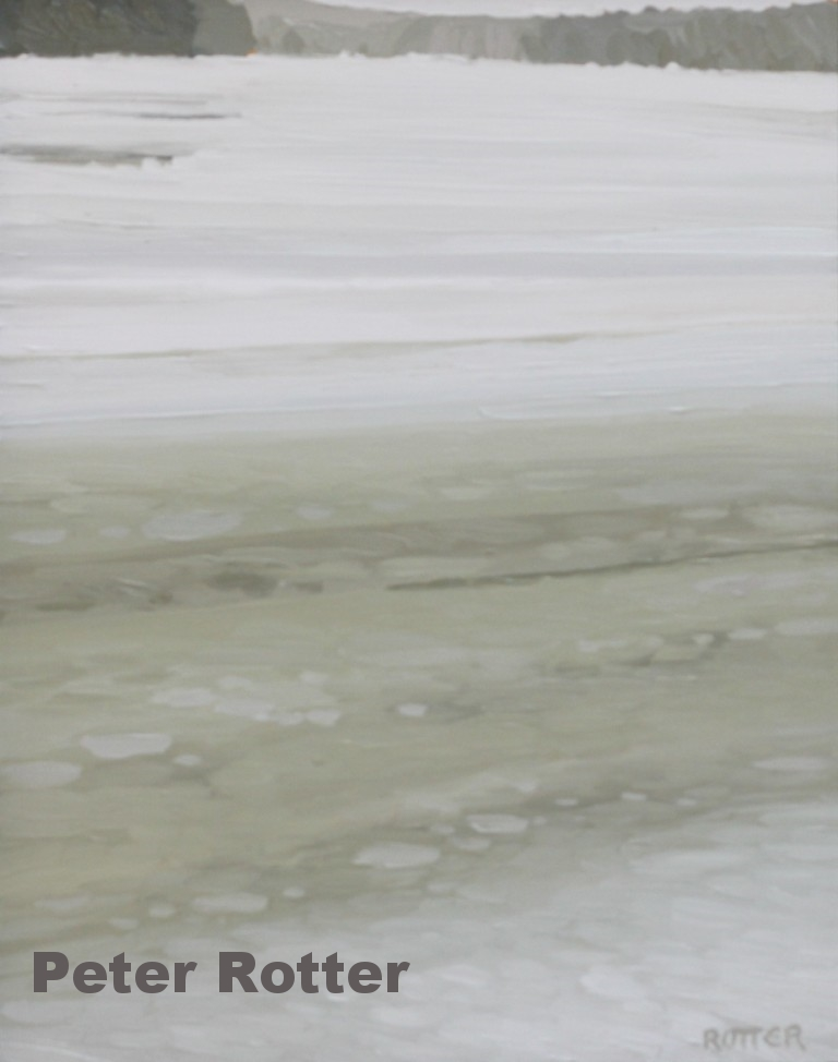 "Peter Rotter, Melting Ice 2, Oil on Panel, 14"" x 22"""