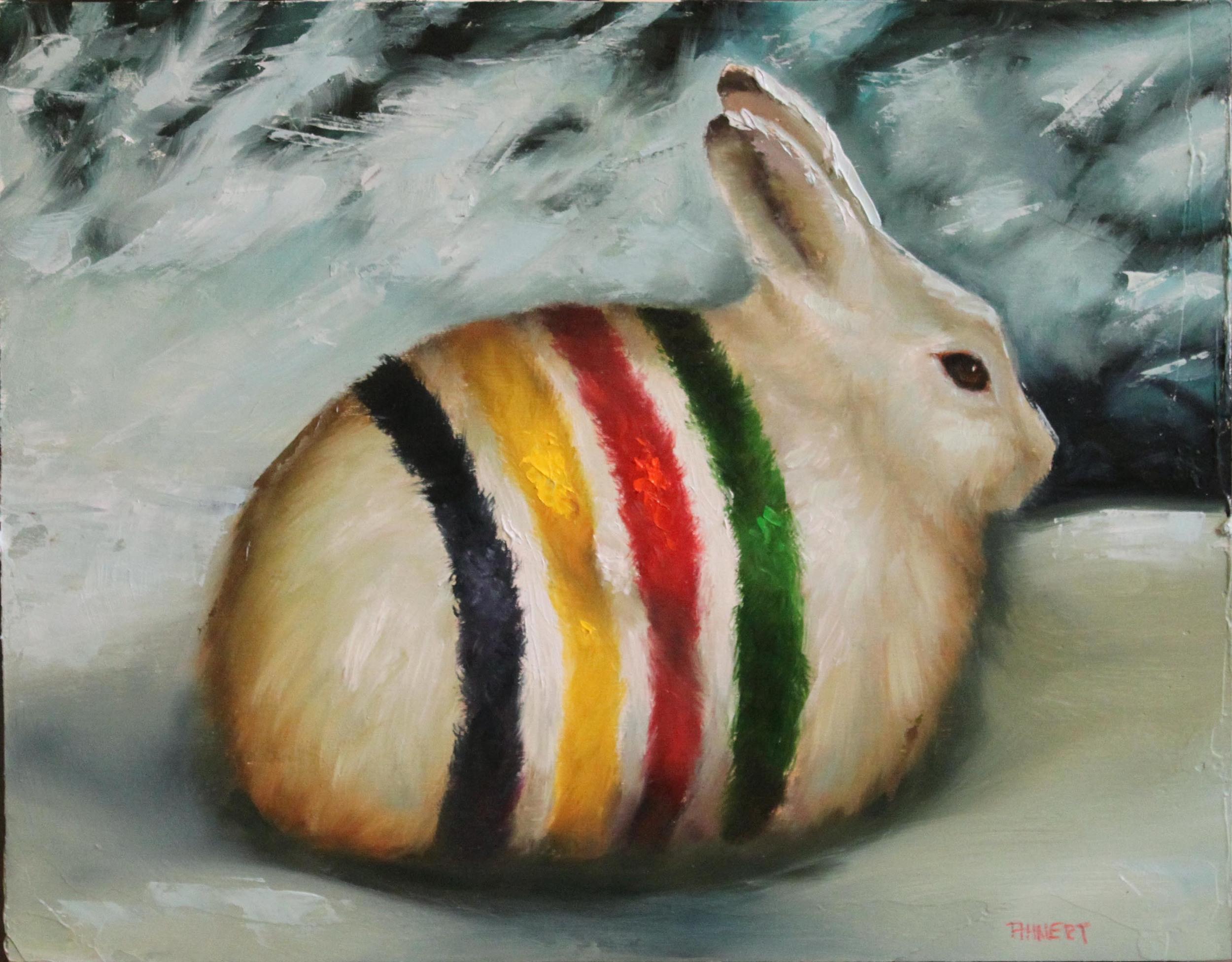 "Four Point Rabbit, Oil, 11"" x 14"""