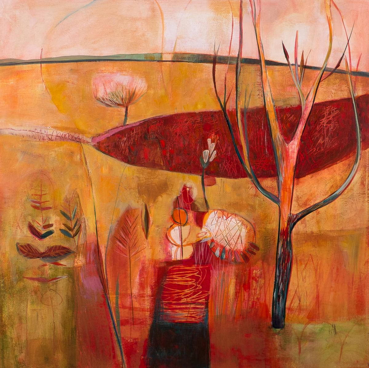 "Field Sculpture, Acrylic on Panel, 36"" x 36"""