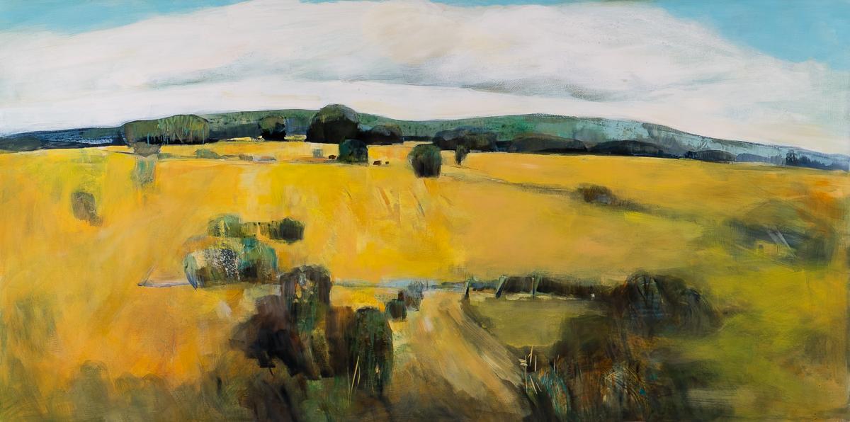 "Summer Farm Fields, Acrylic on panel, 36"" x 36"""
