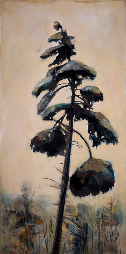 "Winter Spruce, Acrylic on Panel, 40"" x 20"""
