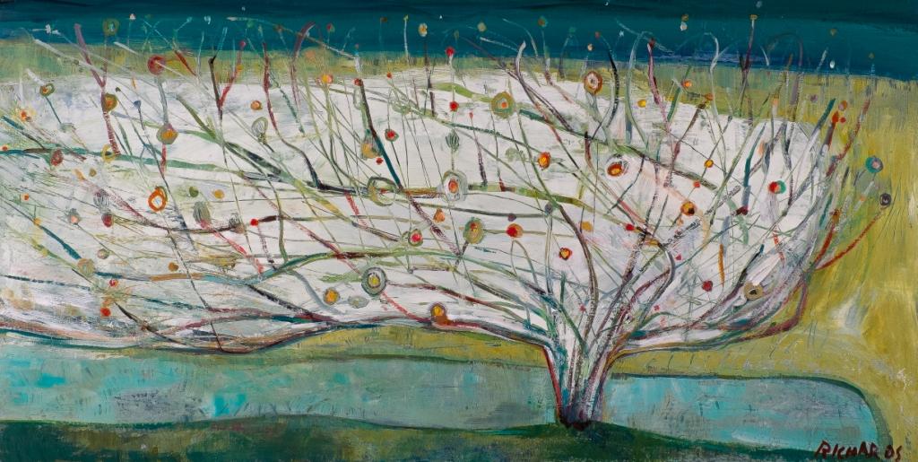 """Windswept Tree, Acrylic on Panel, 20"""" x 40"""""""