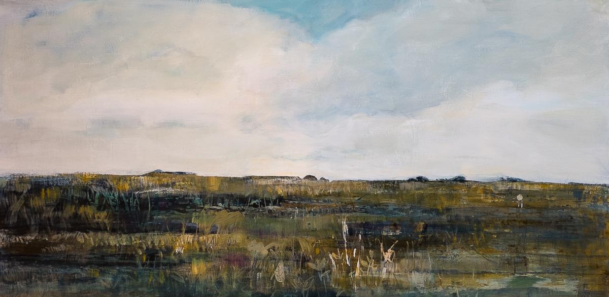 """October Wetlands, Acrylic on Panel, 24"""" x 48"""""""